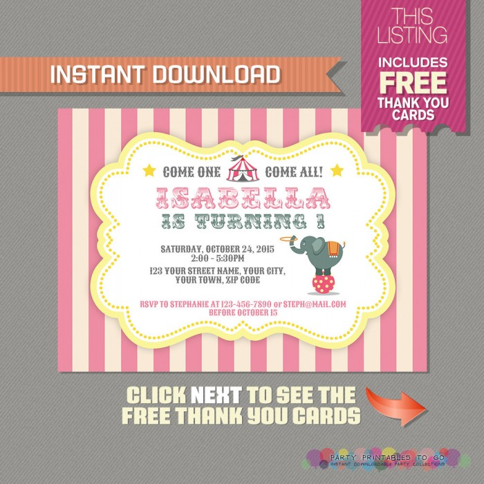 Circus / Carnival Party Invitation with FREE Thank you Card (Pink and Yellow)