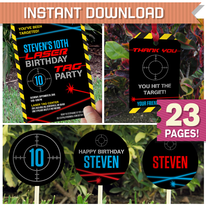 Laser Tag Birthday Party Printables Invitations Instant Download Edit And Print At Home Using Adobe Reader
