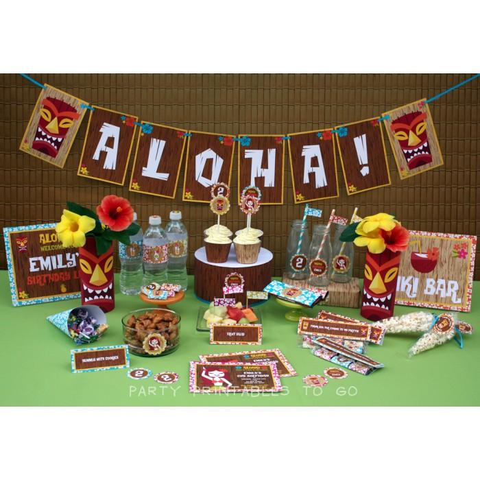 Hawaiian Luau Birthday Party Printable Collection Invitation