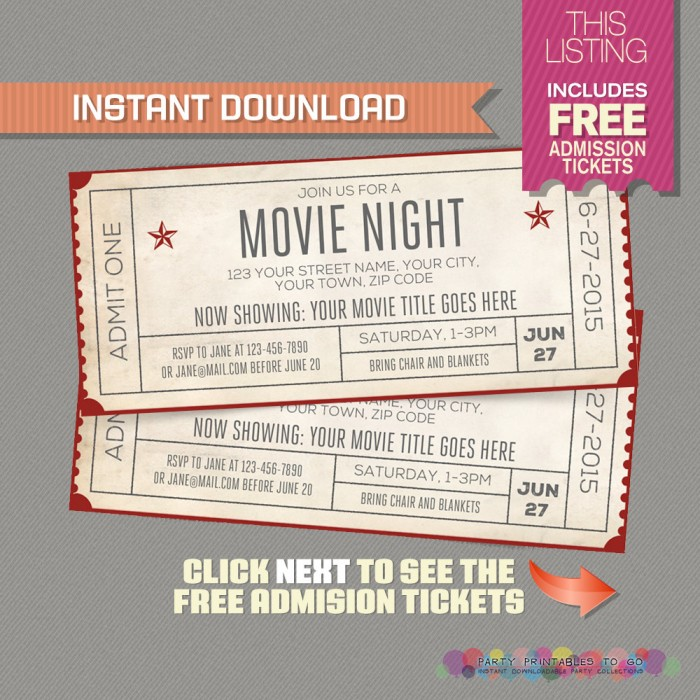 Movie Night Invitation with FREE Admission Tickets