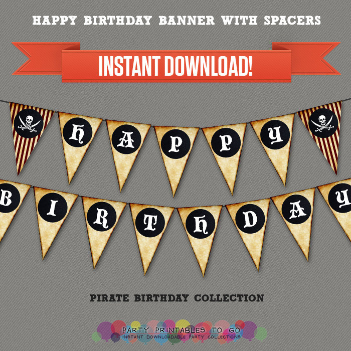 Pirates Party Printable Birthday Banner with Spacers