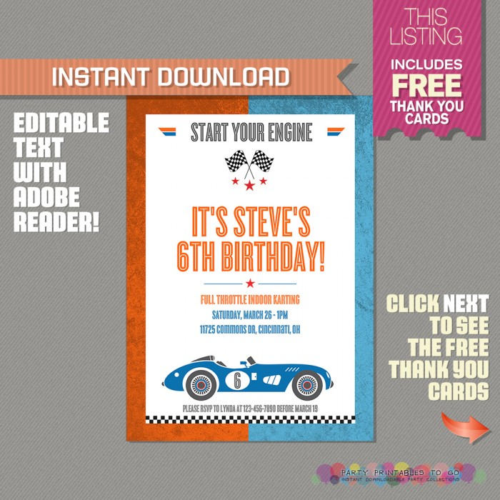 Race Car Birthday Invitation with FREE Thank you Cards!