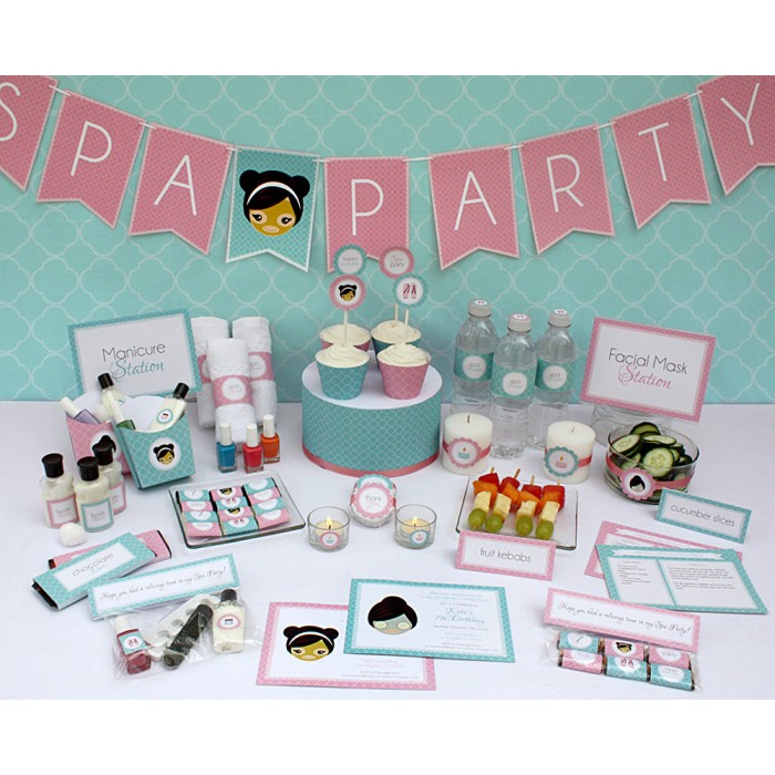 Spa Party Printables Invitations Decorations